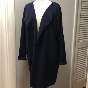 EUC JCrew long sweater blazer; draped knit in navy